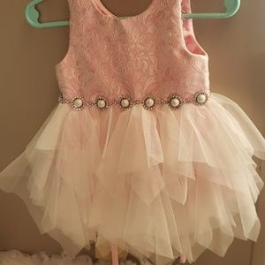 Light pink baby girl dress with Bloomers